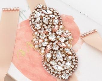 Rose Gold Belt, Crystal Peach Pink Belt, Sash Belt, Bridal Belt, Flower Girl Belt, Dress Belt, Wedding Sash, Peach Pink Sash Belt B136.2