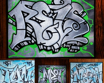 Custom name / word graffiti street art stretched canvas original painting - a perfect gift for a loved one (up to 6'x6') - FREE SHIPPING