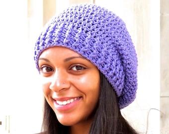 Crochet Slouchy Hat, Women, Men, Teen, Lavender, Purple, Tam, Ready To Ship,,