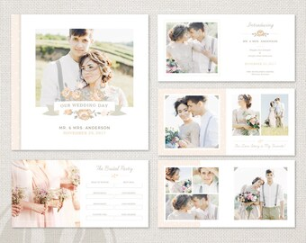 Wedding Album Template - for Photographers, Wedding Album Design Template, Wedding Book Template, 12x12 Album Template, Wedding Photo Book