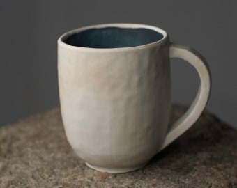 Woodfired Handmade White Clay Ceramic Mug with Dark Blue Glaze II