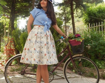Retro style bicycle print pleated midi full skirt