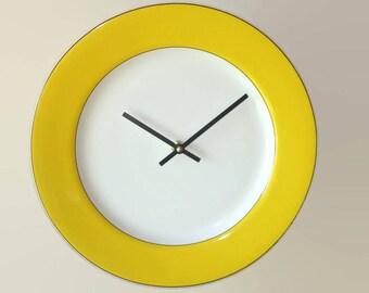 Sunny Yellow Wall Clock Modern 12 Inch Porcelain Plate Clock Yellow Kitchen Decor - 2348