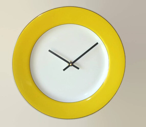 Sunny Yellow Wall Clock Modern 12 Inch Porcelain Plate Clock