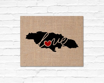 Jamaica Love - Burlap or Canvas Paper State Silhouette Wall Art Print / Home Decor (Free Shipping)