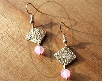 Diamond earrings and Jade beads
