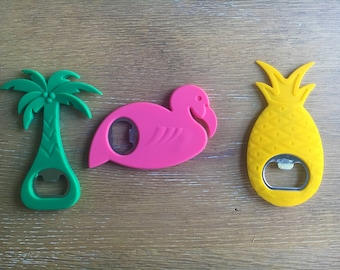 Fun, Brightly Colored Silicone Bottle Openers in Green Palm Tree or Pink Flamingo or Yellow Pineapple