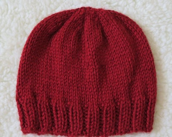 Autumn red knit baby beanie