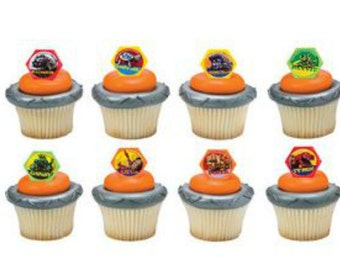 Dinotrux Reptools cupcake rings (24) party favor cake topper 2 dozen