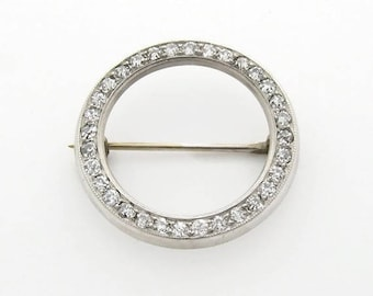 Antique Diamond Pin Round Design 14K White Gold Circa 1930 Valentine Special Idea