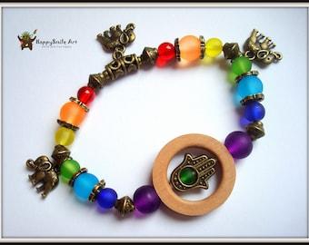 Rainbow Colorful Lucky Gift For Her Seven Chakra Bracelet 7 Chakra Bracelet Hamsa Hand Buddha Lucky Handmade Jewelry Unique Giftidea