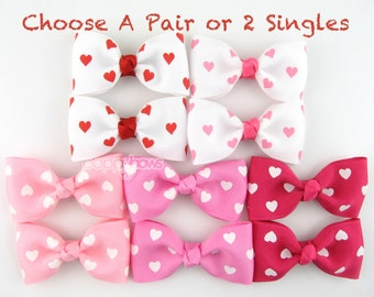 Choose a Pair - Valentines Heart Hair Clips - White Pink Red Hearts Hair Bows on Alligator Clips - 2.5 inch - Baby Toddler Girl