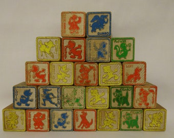 "24 vintage Disney wood children's toy blocks - approx 1 1/4"" square"