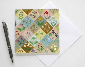Wildflower Harlequin - Blank Greetings Card