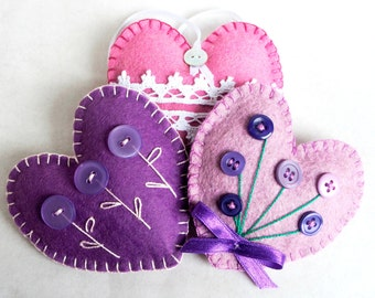 Heart ornament felt, set of 3, button flowers and lace, Valentine's day, violet, purple, pink, Christmas, Birthday, Wedding, , home decor