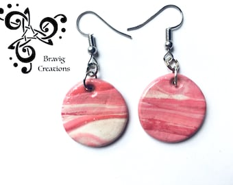 Round earring pink sweet colors - Modeling clay