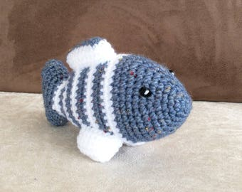 Fully crocheted striped blue fish