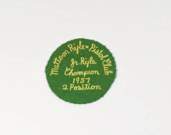 1957 Mattoon Rifle and Pistol Club Junior Rifle Champion Patch - Vintage Patch