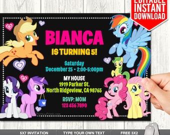 My Little Pony Invitation, My Little Pony Invite, My Little Pony Instant Download, My Little Pony Birthday Party, Editable Text, Instant PDF