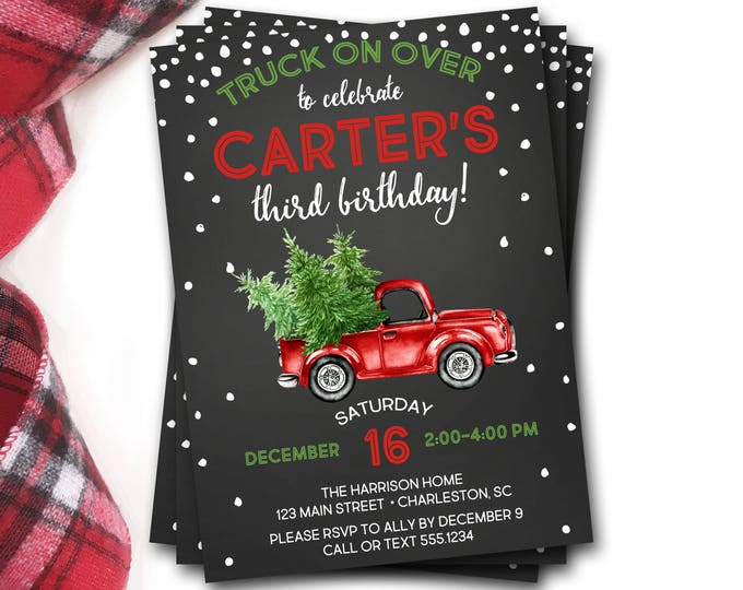 Christmas Truck Birthday Invitation, Winter Birthday Invitation, Rustic Christmas Birthday Invitation, Christmas Birthday Invitation