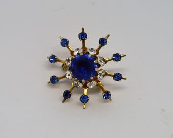 Coro Blue and Clear Rhinestone Brooch