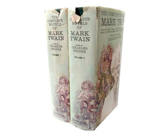 The Complete Novels of Mark Twain by Neider, Charles 2 Volumes One & Two Hardcover Jacket 1964 Doubleday, First Edition, Volume 1 2 HCDJ