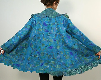 Felted women wool coat turquoise multicolored jacket PEACOCK wearable art coat, ready to ship