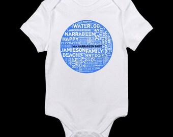 CUSTOM Place of BIRTH Cloud Collage Babies Toddlers Kids Custom Onesie Tshirt Romper or Singlet - colour variations