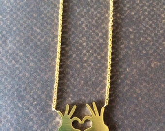 Hand Necklace - Hand Pendant Gold - Heart Shaped Hands - Heat Sign - Heart Hand - Heart Hand Necklace - Heart Hand Jewelry - Hands Necklace