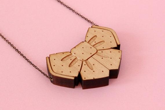 Bowtie necklace - manga jewelry - wooden bow tie pendant - wood jewellery - lasercut maple wood - cute - kawaii - japanese