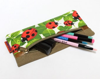Ladybug Pencil Pouch, Zipper Pouch, Cosmetic Bag, Sunglasses Case, Travel Pouch, Makeup bag handmade by EllaOsix