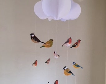Baby Mobile - British Birds Baby Mobile, Cloud Mobile, Hanging Baby Mobile, Nursery Mobile, 3D Paper Mobile