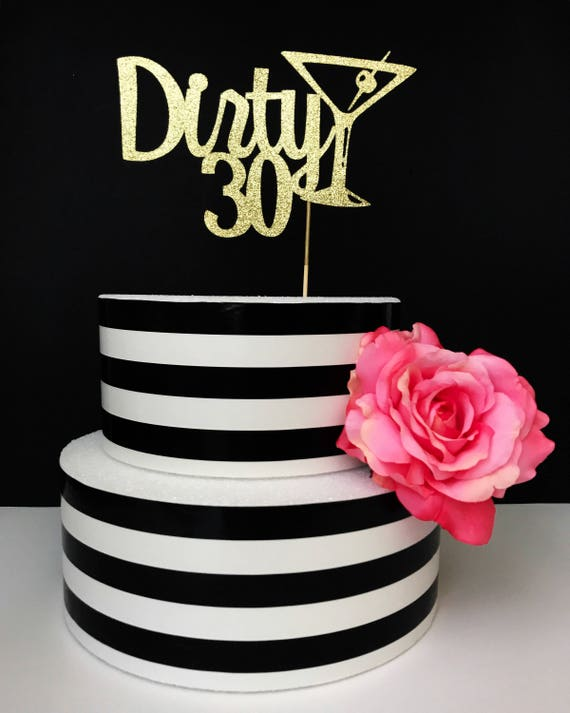 Thirty Wooden Cake Topper