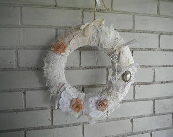 shabby wreath indoor wreath nursery decor bridal shower decor shabby kranz victorian style vintage style wreath french country 11 inch