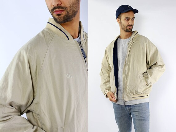 Champion Jacket / Champion 90s jacket / Champion Bomber / 90s Bomber Jacket / Beige Bomber jacket / Bomber Jacket / Men Bomber Jacket
