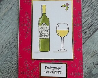 Watercolour Christmas card with a wine bottle and glass of wine - I'm dreaming of a white Christmas ...