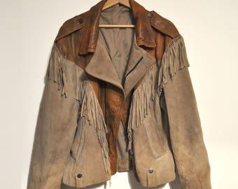PREMIUM VINTAGE / 70s Fringe Western Leather Jacket Womens/ Male - Amazing Fit