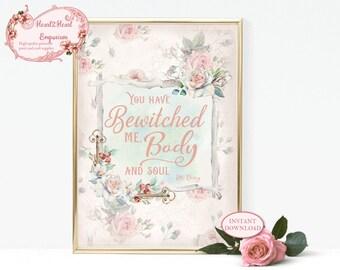 Pride and Prejudice Print, Mr Darcy Quote, Jane Austen Wall Art, INSTANT DOWNLOAD, Jane Austen Gift, Printable Wall Art, Valentines gift