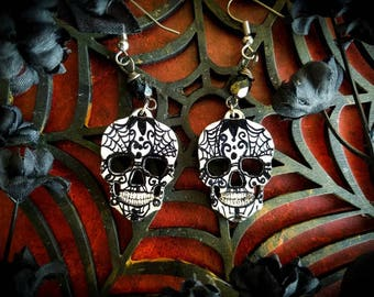 Spider Web Swirls Calavera Skull Earrings,Day of the Dead, Wood,Hand painted Jewelry, Sugar skull Earrings, Skull Earrings, Gothic Style