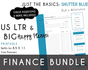 USLTR/BIG Happy Planner Finance Bundle Check Register, Monthly Budget, Debt Payoff Tracker, Debtor Contacts Passwords PDF - Shutter Blue