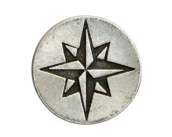 2 Compass Rose Star 1 inch ( 24 mm ) Pewter Metal Buttons Antique Silver Color