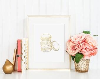 Macarons Gold Foil Print - gold foil office print - gold foil home print - gold home print - gold foil wall decor - foiled wall decor