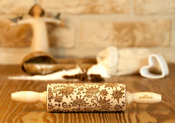 Boho-chic Style, MIDI SIZE,Embossed rolling pin, Engraved rolling pin, Wooden Rolling pin