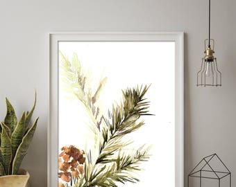 Green Pine Tree Branch Minimalist Art Print, Watercolor Painting Print, Eco Style Wall Art Print, Minimalist art Print