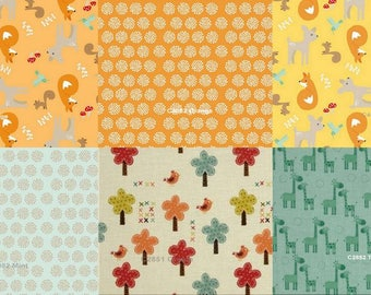 Riley Blake Fat Quarter Bundle, 6 Different Fabrics, From Giraffe Crossing and  Good Natured Collections,  Kid Fabric, 100% Cotton, FQ17-004