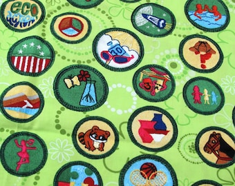 Girl Scout Green Badges Cotton Fabric, Sewing Fabric, Robert Kaufman, Fabric Yardage, Girls Scouts, Scout Badges, Girl Scout Sash,  1/2 Yard