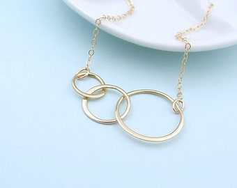 Triple Eternity Circle Necklace, 14k gold fill or sterling silver, best friends necklace, gift for her, eternal love