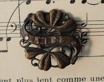 Antique French Nice, France with Mistletoe Pin / Brooch c1920