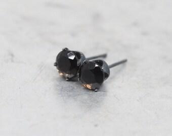 Smoky Brown Quartz Stud Earrings - Black Oxidized Sterling Silver Ear - 6mm round | Mens Womens | Spring Gemstone Gift | Single or Pair