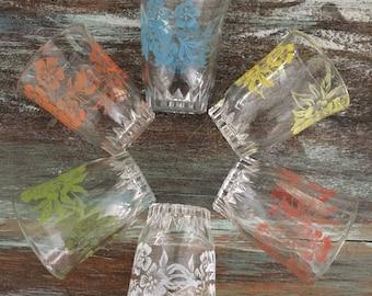 Sweet set of six vintage french multicoloured floral shot glasses